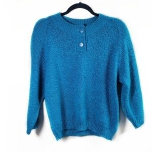 Vintage Blue Textured Button Sweater